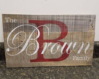 Family Name Sign, Last Name Sign, Established Sign, Rustic Home Decor, Farmhouse Decor, Wedding Gift, Anniversary Gift, Gift For Her, Rustic