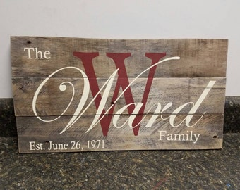 Last Name Sign, Established Sign, Name Sign, Wedding Gift, anniversary gift, couple name sign, personalized name sign, bridal shower