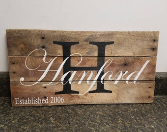 Personalized Wood Sign,Custom Name Wood Sign,Last Name Sign, Wedding Gift Sign, Established Date Family Sign, Anniversary Gift, Rustic