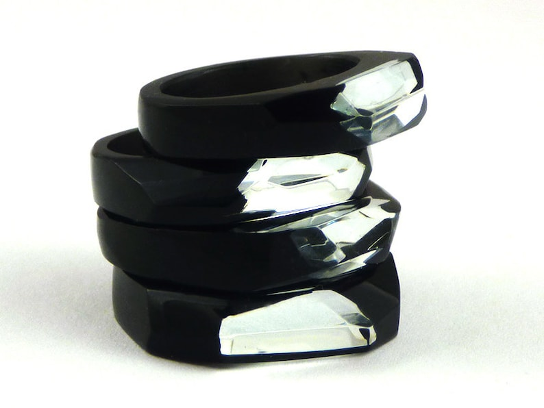 Unique Geometric Ring for Wife Black Resin Ring with Mirror Statetement Black Mirror Ring