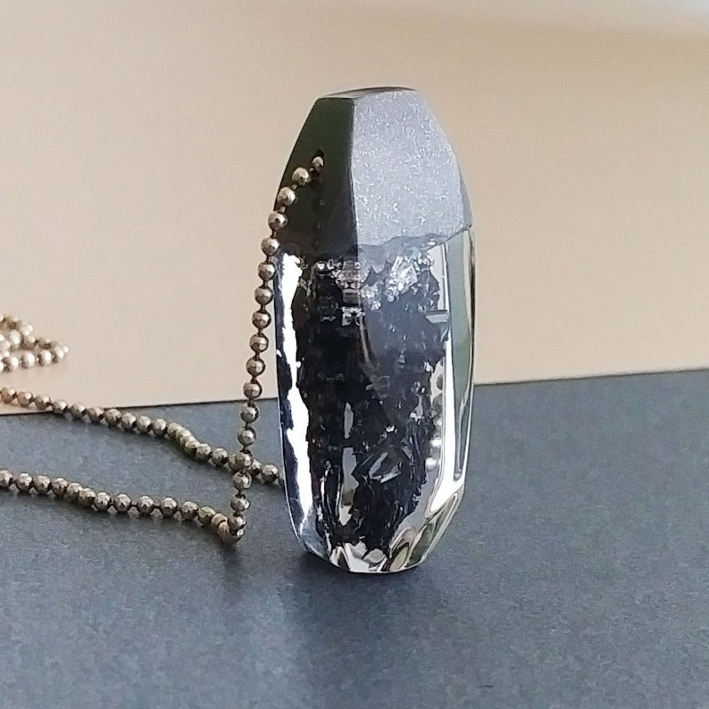 Resin Jewelry Silicon Carbide Black Resin Pendant Resin Necklace Silicon Carbide and Silver Flakes Gift for Her Carborundum Necklace