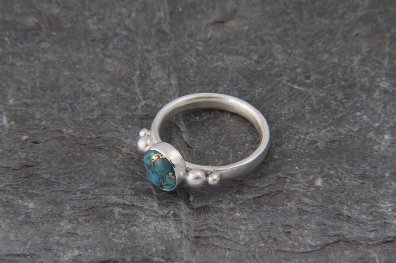 Sterling silver Turquoise ring statement round gemstone ring December birthstone ring turquoise stacking ring copper /& turquoise gem