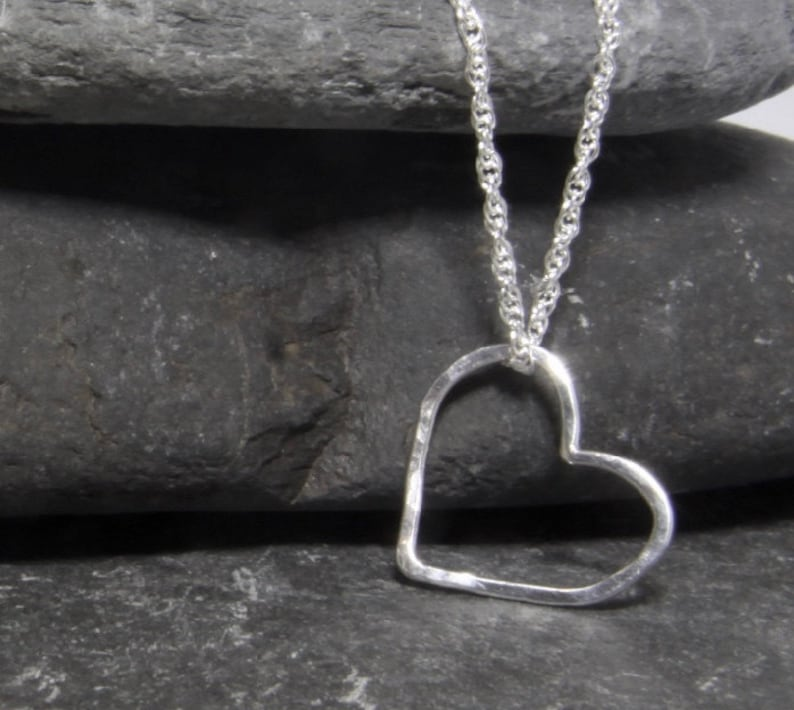 Heart pendant hand made in Cornwall girlfriend heart necklace Sterling Silver heart floating  love heart necklace hammered heart