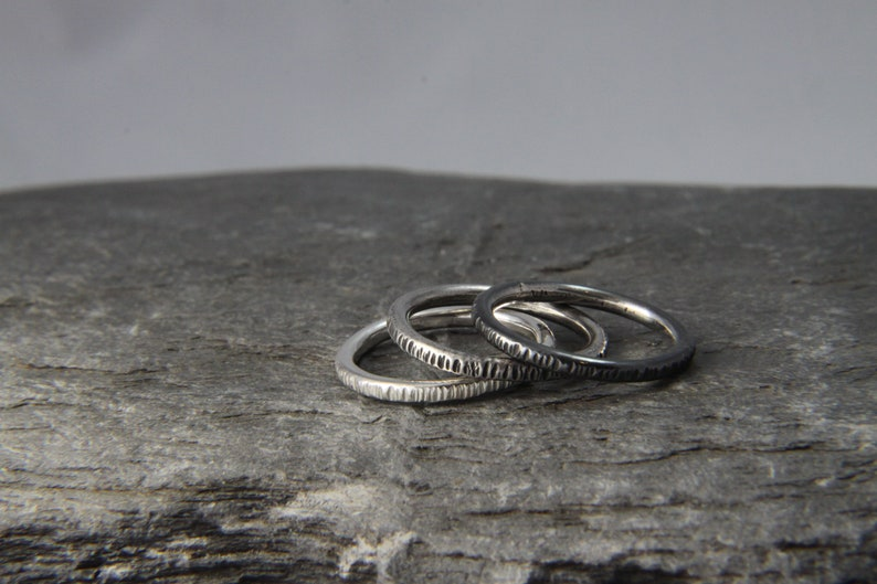 oxidised rings- hand made in Cornwall Sterling Silver stacking set skinny Silver rings Ombre stacking rings hammered stacking rings