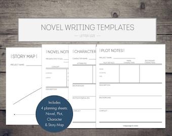 Novel Writing Printables, novel template, writing organization, writing template