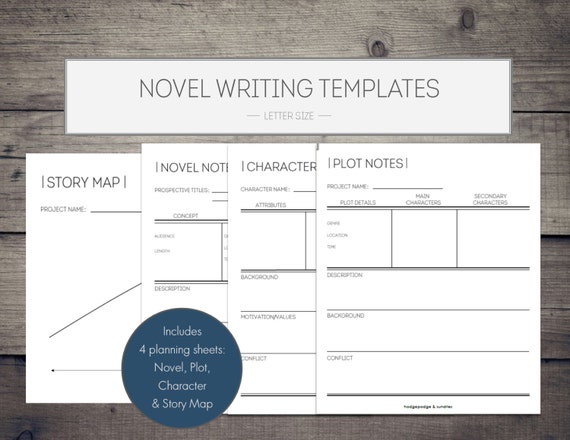 novel writing printables novel template writing etsy