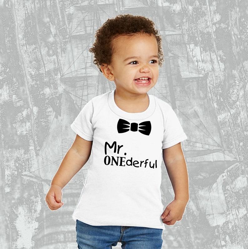 Mr Onederful First Birthday Funny T Shirt Bow Tie
