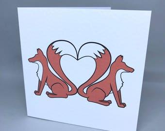 Fox tail heart - love card