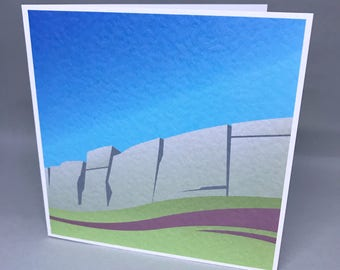 Stanage Edge - card with artwork of Peak District landmark, suitable for any occasion