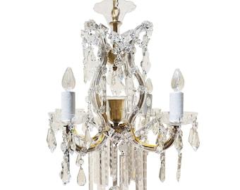 Vintage crystal chandelier etsy a 1940s maria theresa crystal chandelier aloadofball Image collections