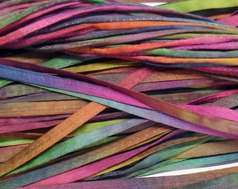 "5PC. MARDI GRAS 2MM Hand Dyed Silk Jewelry Cord//5PC. Hand Dyed Silk Cording 1/8"" X 36""//Hand Dyed Silk Jewelry Bracelet/Necklace Cording"