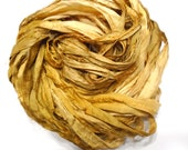 10YD GOLDENROD Sari Silk Ribbon Sari Silk Bundle, Sari Tassel, Sari Wall Decor, Sari Dream Catcher Journal Ribbon Weaving