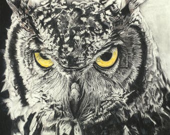 Charcoal owl, Owl painting, Woodland Nursery, Animal Paintings, owl, fox, Animal Wall Art, Wall Decor, woodland owl
