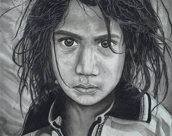 A sad angle, 12 year old child Worker, Child labor, Charcoal drawing