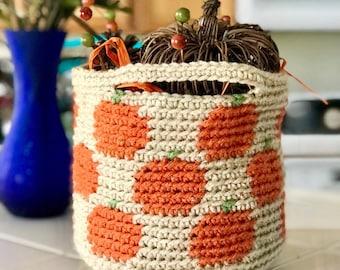 Crochet Pumpkin Basket Pattern—Fall crochet basket, crochet Fall decoration, crochet home decor, easy crochet basket, tapestry crochet