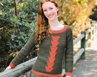 Timberlane Crochet Sweater Pattern for Women — Top Down Raglan Crochet Sweater, Cozy Crocheted Fall Sweater, PDF Instant Download