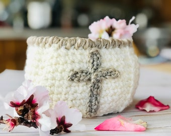 CROCHET CROSS BASKET Pattern - Christian crochet pattern, Easter basket crochet pattern Christian themed