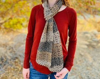 Rustic Lace Scarf Crochet Pattern - Womens Crochet Scarf Pattern, Easy Scarf Pattern, Long Crochet Scarf, PDF Download