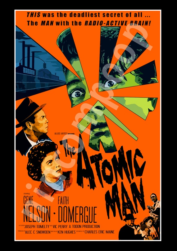 The Atomic Man 1955 Sci Fi Film Movie Advertisement Vintage Poster Print
