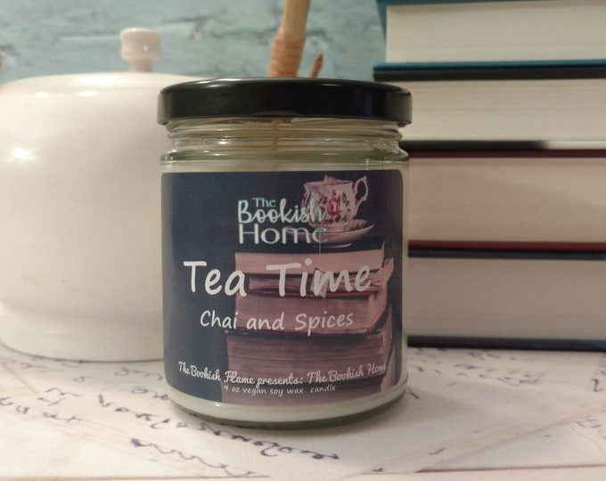 Featured listing image: Tea Time | The Bookish Home | 9 oz Soy Candle