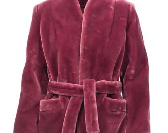 Vintage Sasson faux fur mauve wrap coat 80s