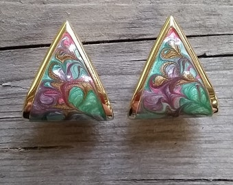 Vintage Enamel and Gold Earrings-Retro Earrings-70's Earrings-Purple Enamel-Aqua Enamel-Vintage Teal and Gold-Rainbow Earring-Free Shipping