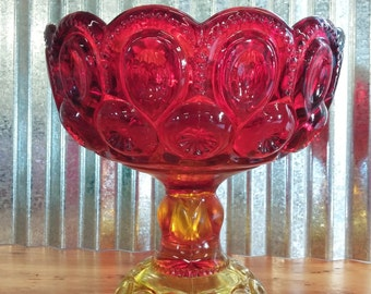 Large LE Smith Amberina Compote-Moon and Stars Amberina Compote-Ruby Moon and Stars-Vintage LE Smith Glass-Vintage LG Wright Glass