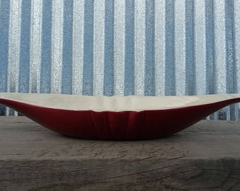Unusual Red Wing Pottery Console Bowl-Vintage Red Wing Pottery-Red Wing Bowl-Midcentury Pottery-Midcentury Ceramic-Red Wing Ceramic
