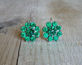 Emerald Rhinestone Sterling Silver Vintage Earrings-Prong Set Emerald Rhinestones-Sterling Silver Rhinestone Earrings-Green and Silver