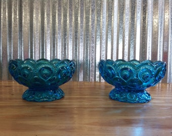 PAIR of LE Smith Moon and Star Glass Compote Style Candle Holders-Vintage Glass-Depression Glass-Midcentury Glass