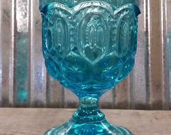 Blue LE Smith Moon and Star Cordial Glass-Depression Glass-LE Smith Glass-Moon and Star Glass-Blue Glass-Blue Moon and Star-Tealight Holder