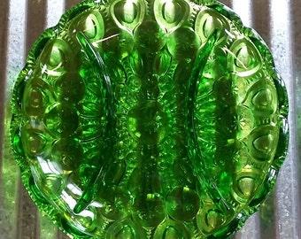 LE Smith Green Moon and Star Relish Dish-Moon and Star Relish Tray-Vintage Green Relish-Moon and Stars Glass-Green Vintage Glass