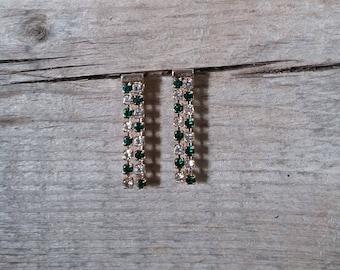 Prong Set Vintage Emerald Rhinestone Drop Earrings-Vintage Emerald Rhinestone Dangle Earrings-Clear Rhinestone Dangle Earring-Free Shipping