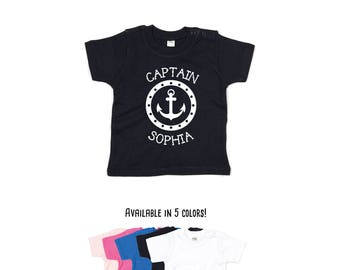 Captain shirt, personalized shirt, custom name shirt, captain name shirt, baby shirt, boating shirt, sailor shirt, anchor shirt, toddler tee