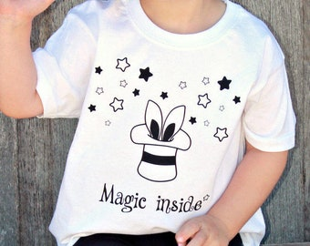5fb19b5ca Magic inside shirt, magic tee, kids magic shirt, rabbit ears shirt, rabbit  shirt, magician shirt, magical shirt, stars shirt, birthday gift