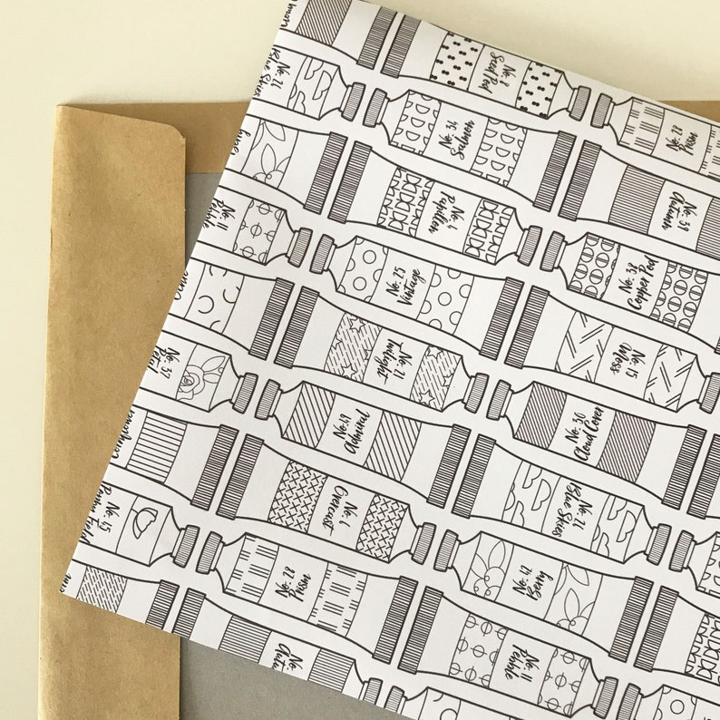 Wrapping paper to colour in or leave blank for striking monochrome gift in paint tube design perfect for mindfulness gift