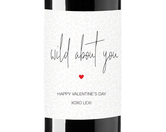 Wild About You Wine Labels - Leopard Print Valentine's Day Gift Favors