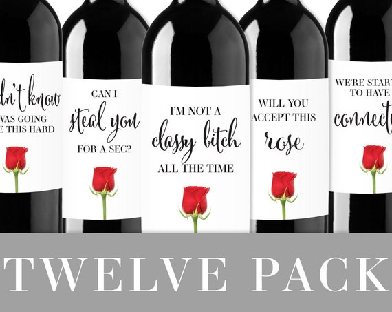 Bachelor Viewing Party Wine Label 12-Pack