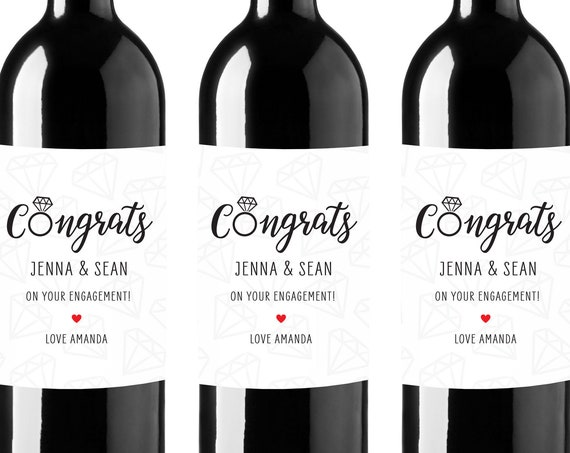 Congrats On Your Engagement - Personalized Wine Labels - Engagement Gift - Engagement Party Favors