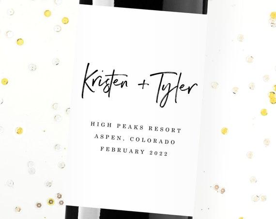 Wedding Wine Labels Favors, Personalized, Keepsake, Custom, Couple, Destination, Gift, Elegant, Modern, Label, Anniversary, Save the Date
