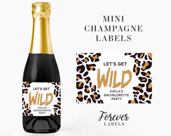 Wild Bachelorette Party Mini Champagne Favor Labels in Leopard Print, in Tan or Gold Foil