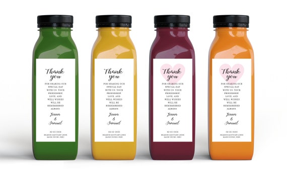 Wedding Favors Pressed Juice Personalized Labels   Thank You Wellness Wedding Favors