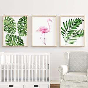Tropical Leafs Nursery Wall Decor New Mom Gift Baby Shower Gift Tropical Nursery Wall Art Tropical Flamingo Print