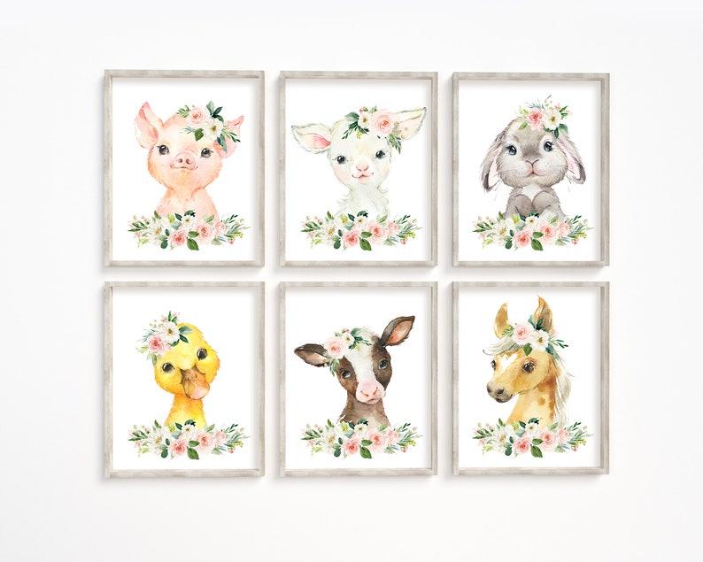Baby Cadeau Konijn Lam Koe Paard Kraam Cadeau Boerderij Dieren Babykamer Printen Kunst aan de muur Dieren Posters Kinderkamer Decor