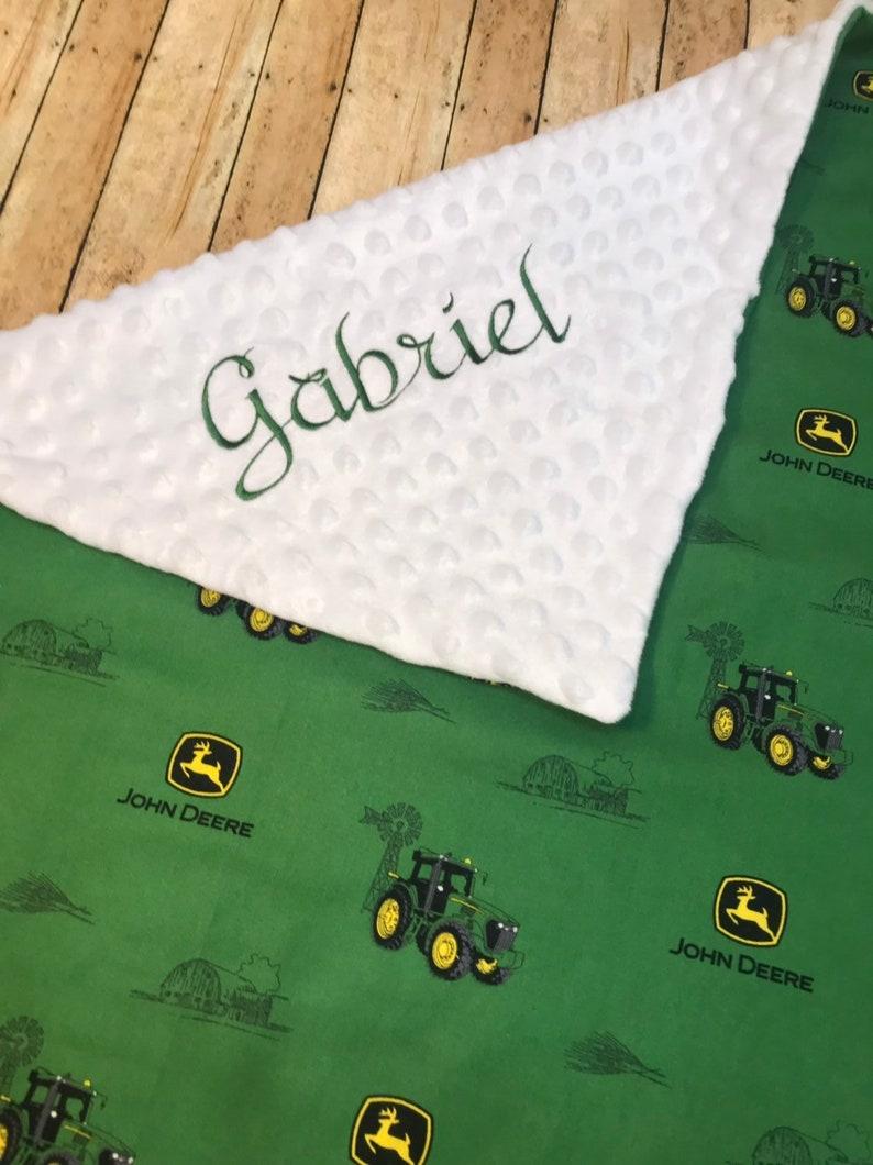 Personalized John Deere Minky Baby Blanket