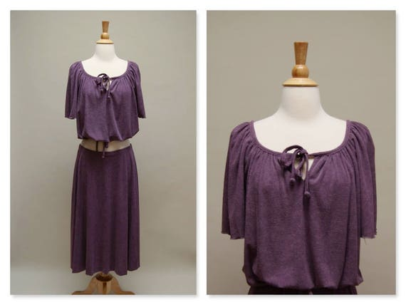 Vintage 70's Purple Skirt Set Terry Cloth Blouse &