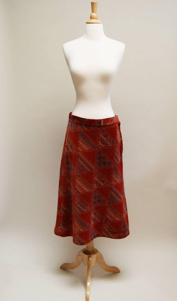 1970s Velveteen A Line Skirt Vintage Rust Midi Skirt 70s Boho Orange Velvet Skirt