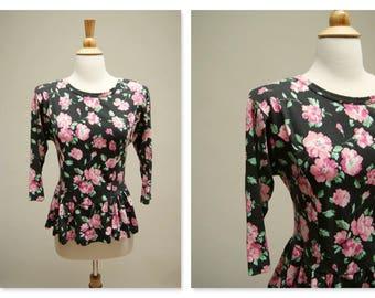 Vintage 80s Peplum Blouse ⎮ 1980s Black And Pink Top ⎮ Vintage Floral Blouse