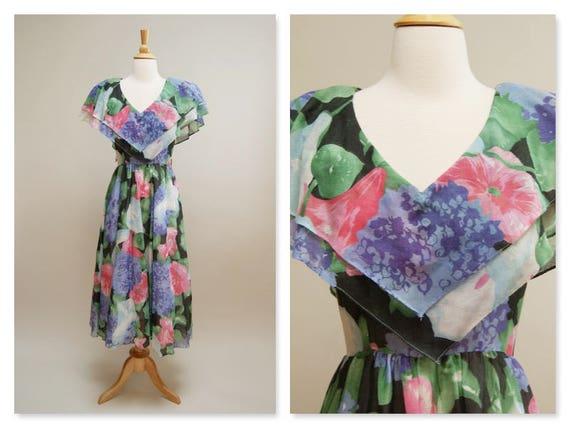 Vintage 80s Does 50s Spring Garden Dress Vintage 1