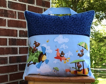 Handmade With Piping And Zipper Flying Ace Dog Reading Pocket Pillow Cover